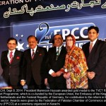 Dr. Julie Reviere Programme Director Education GIZ Pakistan recieves gold madel from President of Pakistan